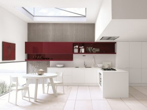 Vackert kök Febal Cherry med inbyggd takfläkt