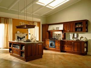 Traditionella kök med rustika luckor i trä